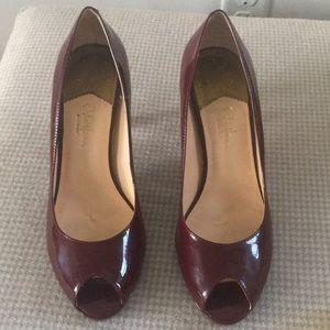 Cole Haan Peep Toe Pumps, Size 9, deep red